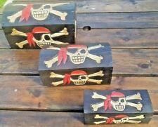 HAND MADE WOODEN PIRATE TREASURE BOX (TRINKET, STORAGE, KIDS, BIRTHDAY, TOY)
