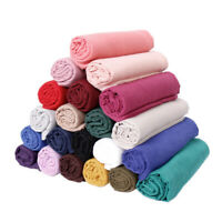 Women Fashion Scarf Plain Cotton Maxi Viscose Scarves Shawl Muslim Hijab Muffler