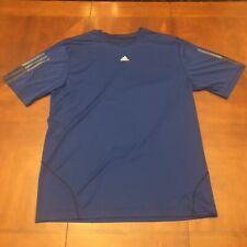 Adidas Men's Shirt Large Blue Training Running Exercise Ss ClimaLite Exercise