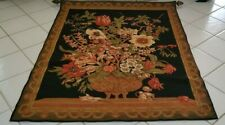 Vtg Huuuge Hand-Made Embroidered & Lined Tapestry Wall Art w/Rod & Hardware~$380