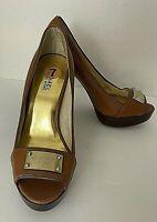 Michael Kors Brown Peep Toe Platform Heels Leather Shoes 7 M