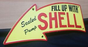 LARGE ** FILL UP WITH SHELL ARROW ** VINTAGE STYLE CAST IRON SIGN RETRO MAN CAVE