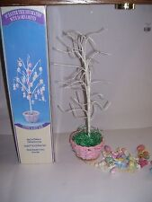 "VTG Easter Tree Wire Wood Ornaments Easter Eggs, Rabbits NOS 18"" TALL 24 PCS"