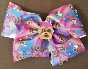 Jojo Siwa Large Hair Bow Alligator Clip Sequins & Yorkies New Without Tags Rare
