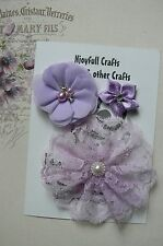HANDMADE 3 Flower Mix LAVENDER Organza Satin Lace 30, 50 & 100mm NjoyfullCrafts