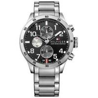 Tommy Hilfiger Men's 1791141 Analog Display Quartz Silver Tone Black Dial Watch