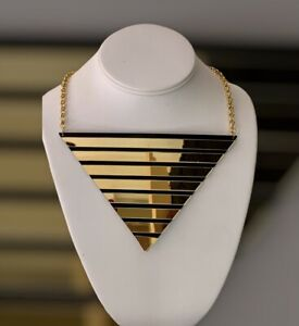 UNUSUAL Statement Gold Perspex Triangle Choker Collar Necklace Rocks Boutique