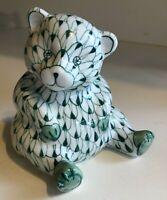 """Andrea by Sadek 5"""" Hand Painted Green, White Porcelain Bear Figurine Fishnet"""