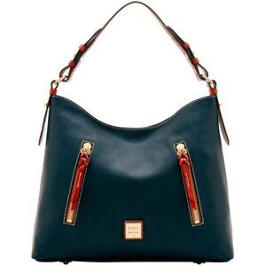Dooney & Bourke Black and Copper Pebble Leather Hobo Bag