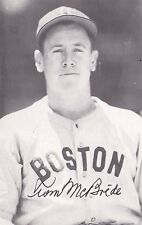 """Tom McBride Boston Red Sox Autographed 3 1/2"""" x 5 1/4"""" Paper Photo"""