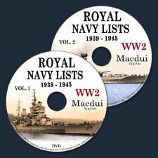 World War 2 Ww2 Royal Navy Lists 1939 to 1945 - 59 Vintage E-books on 2 DVD PDF