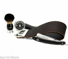 LEATHER STROP WITH PASTE STRAIGHT CUT THROAT RAZOR BLACK BADGER BRUSH