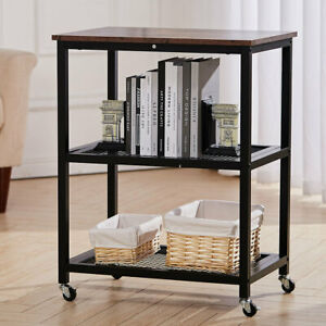 Mobile Storage Rack 3 Tier Iron Mesh Shelf Serving Trolley Wood Top Rolling Cart