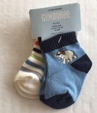 NWT Gymboree Snow Bear 0-3 Months Blue Polar Bear & Multi Color Stripe Socks 2pk