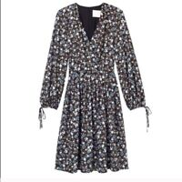 Gal Meets Glam Hope Satinique Surplice Dress Blue Floral V Neck 2 NWT