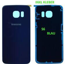 ✅ Samsung Galaxy S6 G920F Akkudeckel Back Cover ✅ BLAU inkl KLEBER ✅