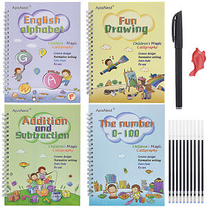 English Children's Magic Writing Board Calligraphy Stickers Kids Groove Copybook