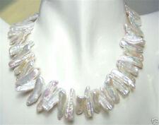 Beautiful Real Natural White Freshwater Biwa Pearl Necklace 17''