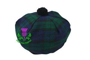 Clan Scottish Tam O' Shanter Hat Black Watch Tartan Acrylic Wool Highland Wears