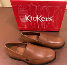 New Kickers Boys Shoes Brown Leather Size 2 Uk Slip On