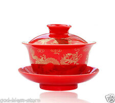 Chinese boutique dragon and phoenix gaiwan Wedding bowl Ceramic red tureen GIFT