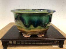 Green Blue Round Glazed Shohin Size Bonsai Tree Pot By Fugushige Bushuan 4 3/8�