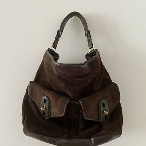 Cole Haan Brown Suede Brown Leather Large Hobo Shoulder Bag with Gold Hardware