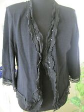 ST JOHN EVENING BLACK TOP WITH RUFFLES/PAILLETTES, SIZE 6