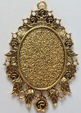 4 of 40x30 mm Antique Gold Fancy Art Nouveau Roses Pattern Pendant Settings Nice