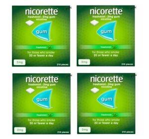 Nicorette GUM Freshmint 2 mg - 210 Pieces x 4 Boxes