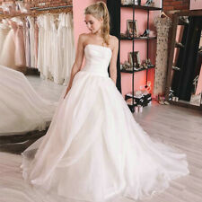 Simple Organza Wedding Dresses Strapless Backless A-line Bridal Gowns Custom