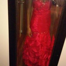 Red Rhinestone & Sequin Floor Length Sleevless Pageant/Formal/Prom Dress Size5/6