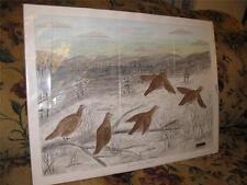 Original Outsider Art Oil Painting Prairie Fire Refugees Grouse Birds, Millikin