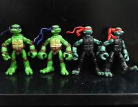 lot 4 TMNT TEENAGE MUTANT NINJA TURTLES Donatello Raphael action figure #hj5
