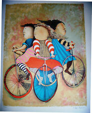 """Gracil Rodo Boulanger Hand S/N LE """"Three Bicycles"""" Children bicycling sports art"""