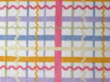 """MINKY FABRIC ZIGZAG RICK RACK PASTEL PLAID CUDDLE KNIT BABY SEW 60"""" MATERIAL BTY"""