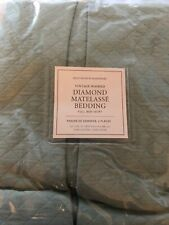 Restoration Hardware Vintage Washed Diamond Matelasse Full Bed Skirt Silver Sage