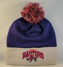 Toronto Raptors NBA Mitchell & Ness Cuffed Knit Pom Hat Purple Gray
