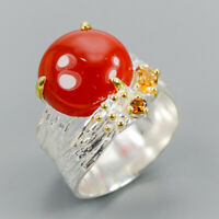 Handmade Jewelry Natural Carnelian 925 Sterling Silver Ring Size 7/R117940