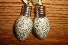 Christmas Tree Bulb design Glass Ornaments USA Shredded Currency, Money, Cash