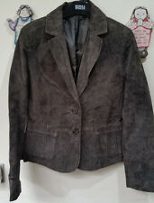 DOROTHY PERKINS Brown SUEDE LEATHER JACKET BLAZER + LINING UK SIZE 12