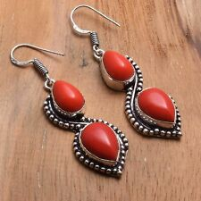 "Jewelry 2.08"" Ae 85711 Coral Handmade Drop Dangle Earrings"