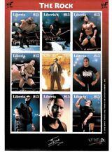 "Liberia 2000 Dwayne ""The Rock"" Johnson - Sheet of 9 Wrestling Stamps MNH"