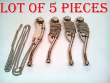 LOT OF 5 NAUTICAL ANTIQUE BRASS NICKEL FINISH BOATSWAIN'S PIPE BOSUN WHISTLE