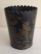 Vintage Oriental Chinoserie artesanías Negro/Oro palillo de dientes Beeker O Taza