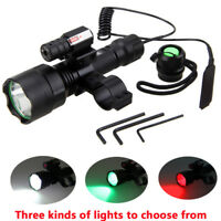 Tactical LED Flashlight Hunting Torch Red Laser Gun Lamp White/Red/Green Lens