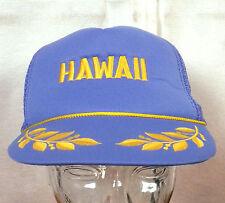 vtg 70s 80s blue/gold mesh back Hawaii Snapback Trucker Hat Cap punk indie