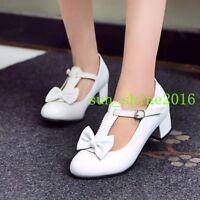 Women Kawaii Round Toe Bowknot T-strap bowknot sweet pumps sandals shoes plus sz