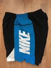 VTG 90s ~ NIKE COLORBLOCK/SPELLOUT CYCLING SHORT ~ Black/Aqua/White ~USA Made ~L