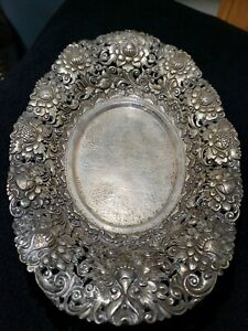 ANTIQUE 800 SOLID SILVER REPOUSSE PIERCE BOWL DISH